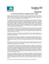 Un nouveau plan d'action pour la coopération Aquitaine - Québec