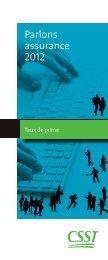 Parlons assurance 2012, taux de prime - CSST