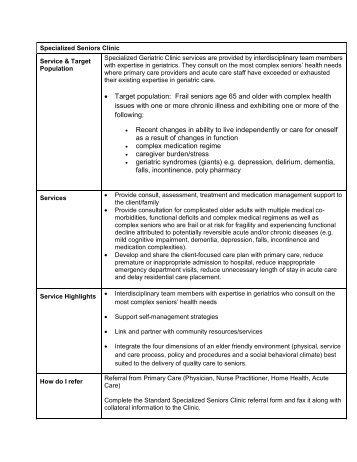 Specialized Seniors Clinic Description - Physician