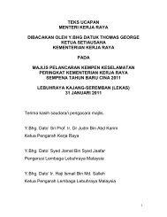 Teks Ucapan YBM dibacakan oleh KSU - Kementerian Kerja Raya ...