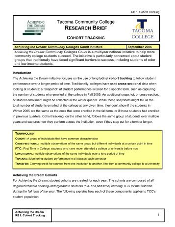 research brief cohort tracking - Tacoma Community College