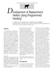Development of Replacement Heifers Using Programmed Feeding