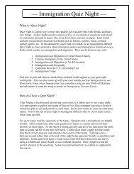 Immigration Quiz Night Topics