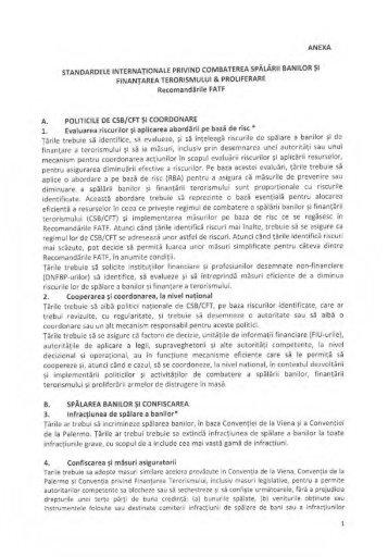 Standardele internationale privind combaterea spalarii banilor