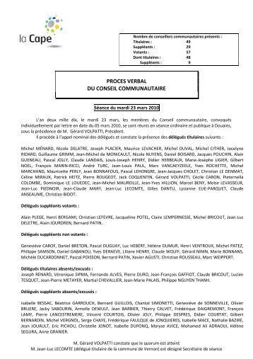Conseil communautaire - Compte-rendu du 23 mars 2010 - CAPE