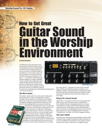 Guitar Sound in the Worship Environment - medialink