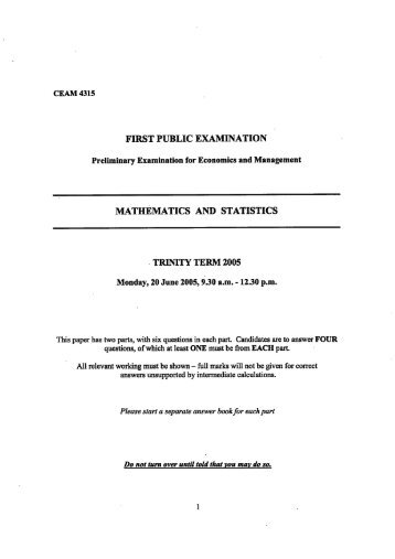 2005 Prelim Maths & Stats Exam Paper