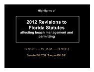 2012 Legislative Reform of the Permitting Process for Beach ... - fsbpa