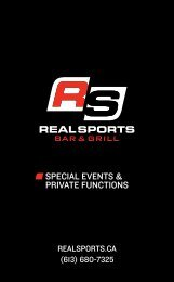 SPECIAL EVENTS & PRIVATE FUNCTIONS - Real Sports