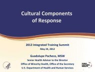 Cultural Components - The 2012 Integrated Medical, Public Health ...
