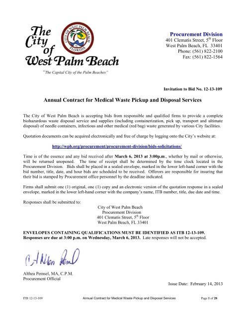 Annual Contract for Medical Waste Pickup and Disposal Services ...