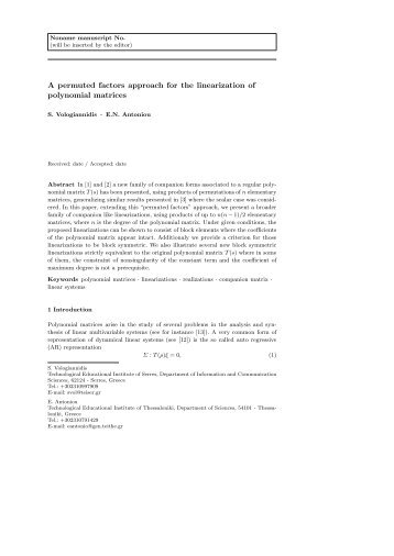 A permuted factors approach for the linearization of polynomial ...