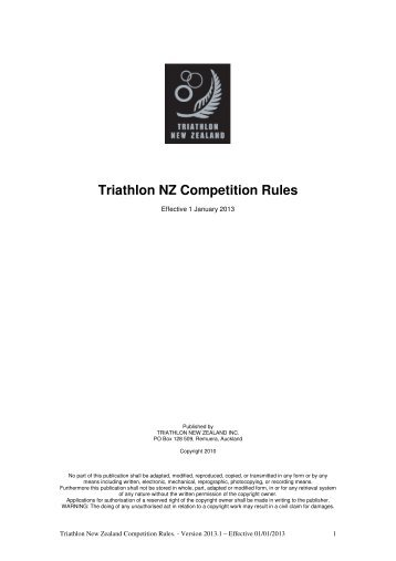Triathlon NZ Competition Rules 2013 - Triathlon New Zealand
