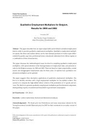 Qualitative Employment Multipliers for Belgium, Results for 2000 ...