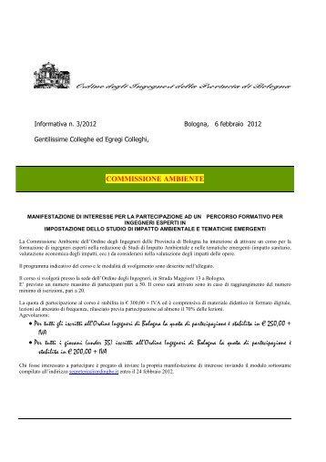 Informativa n. 3 - Ordine degli Ingegneri della Provincia di Bologna