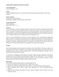 Thunderbird Consulting Group Project Synopsis