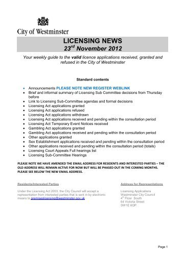 Licensing News - Westminster City Council