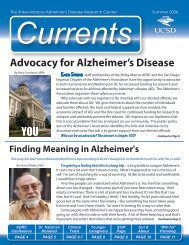 Currents Summer 2006 (PDF) - Shiley-Marcos Alzheimer's Disease ...