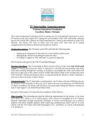 IT Internship Announcement - Vietnam Education Foundation