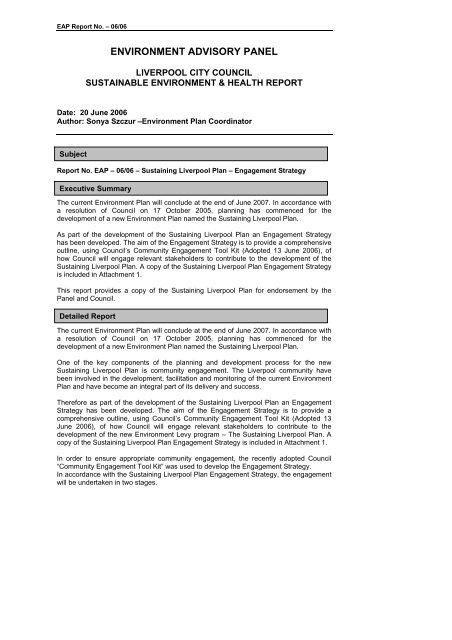 Environment Advisory Panel Liverpool City Council