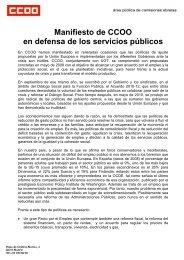 Manifiesto de CCOO en defensa de los servicios públicos
