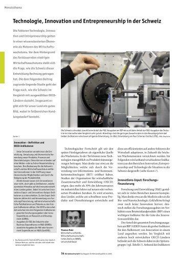 Technologie, Innovation und Entrepreneurship in der Schweiz - Seco
