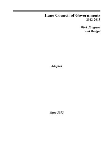 FY 2012-13 LCOG Adopted Work Program and Budget