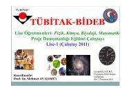 TÜBİTAK-BİDEB Lise Öğretmenleri- Fizik, Kimya, Biyoloji, Matematik