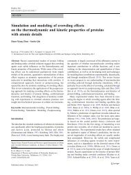 Simulation and modeling of crowding effects on the thermodynamic ...