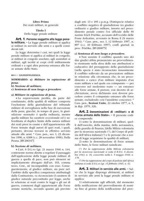 Libro Primo Dei reati militari, in generale Titolo I Della ... - La Tribuna