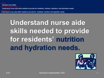 6.01 Nutrition and Hydration