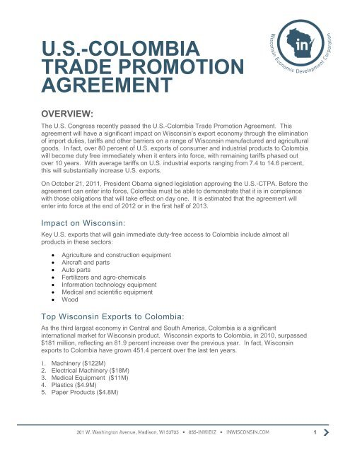 Us Colombia Trade Promotion Agreement In Wisconsin