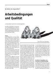 Arbeitsbedingungen und Qualität