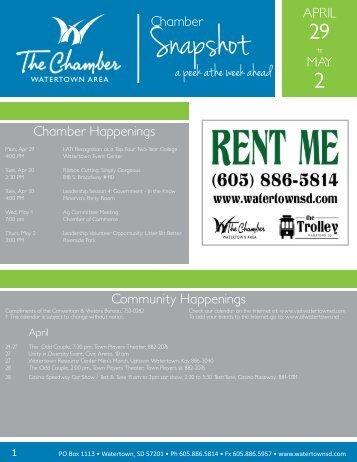 a peek athe week ahead - Watertown Chamber of Commerce