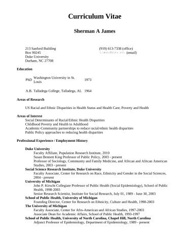 Curriculum Vitae Sherman A James - Academic Room