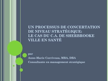 Recherche sur le processus de concertation de Sherbrooke Ville en ...