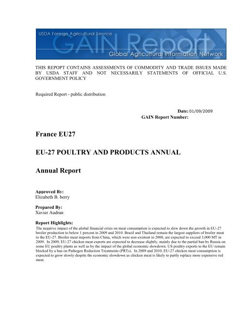 France EU27 EU-27 POULTRY AND PRODUCTS ... - Eurocarne