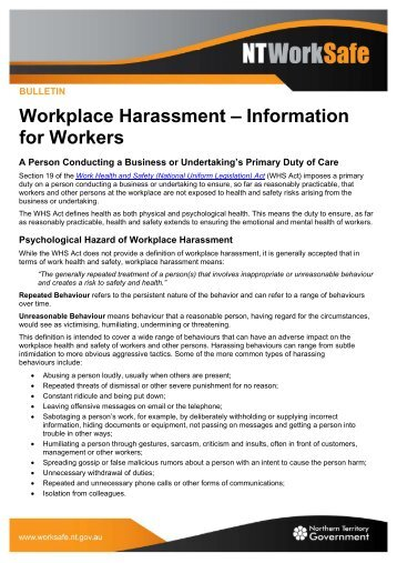 Workplace Harassment – Information for Workers - NT WorkSafe