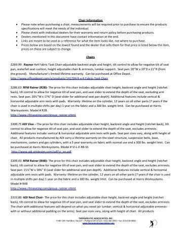 Chair Information (PDF) - Therapeutic Associates