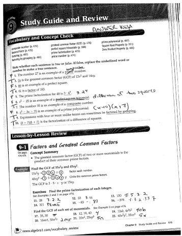 f;a~tors and &r~tast ~omraon Factors