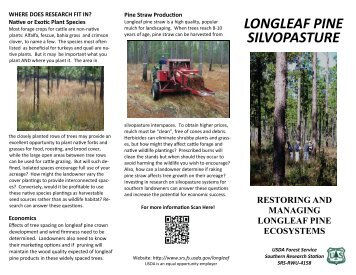 LONGLEAF PINE SILVOPASTURE - Southern Research Station