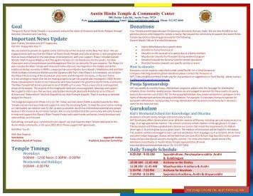 Austin Hindu Temple and Community Center ... - myPanchang.com