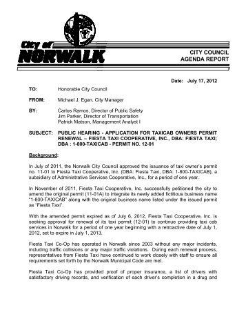 application for taxicab owners permit - City of Norwalk
