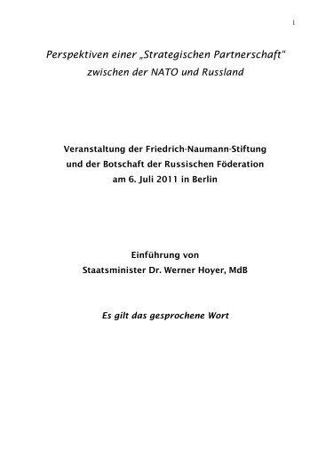 """Perspektiven einer """"Strategischen Partnerschaft"""" - Dr. Werner Hoyer"""