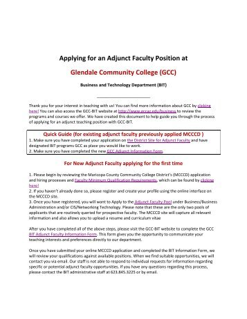 Applying for an Adjunct Faculty Position at Glendale Community ...