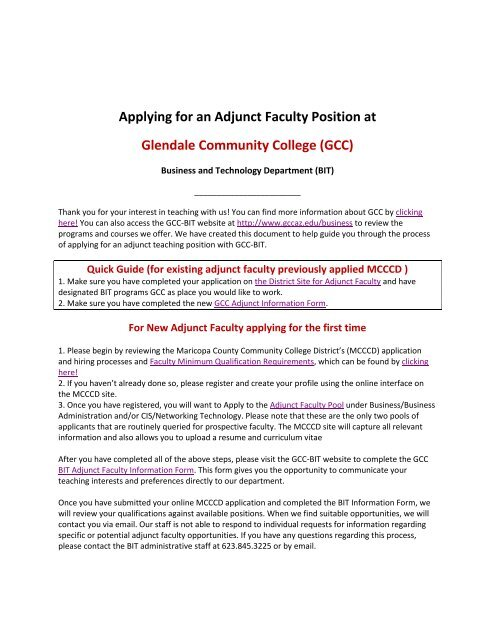 Applying for an Adjunct Faculty Position at Glendale