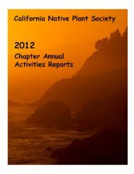2012 Chapter Annual Reports - California Native Plant Society