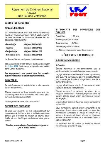 Réglement National VTT des jeunes 2009
