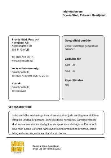 Brynäs Städ, Puts och Hemtjänst AB - Söderhamns kommun