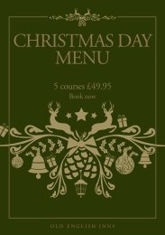 our Christmas Day Menu, with 5 courses for £49.95 - Old English Inns